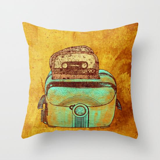 cuscino disegno cassetta pane musica