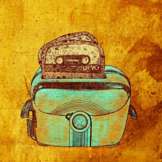 illustrazione musica nastro stereo pane in cassetta tostato