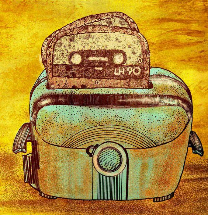 nastro anni 90 con tosta pane in cassetta musica illustrazione