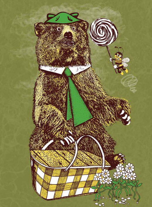 illustrazione ispirata all' orso yoghi