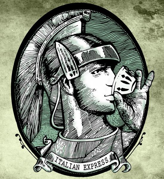 illustrazione italian express o american espresso