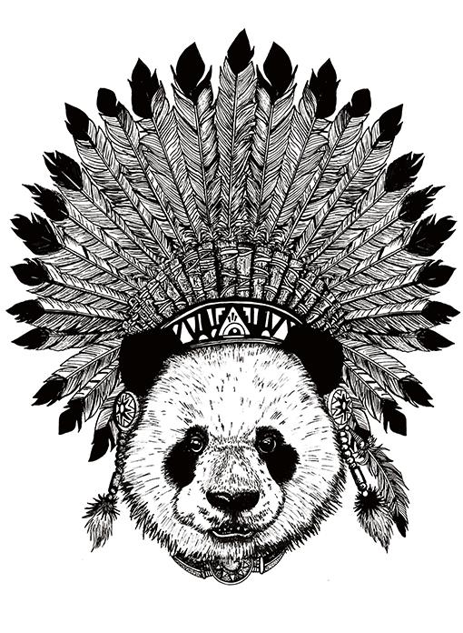 streetwear panda ntive american design
