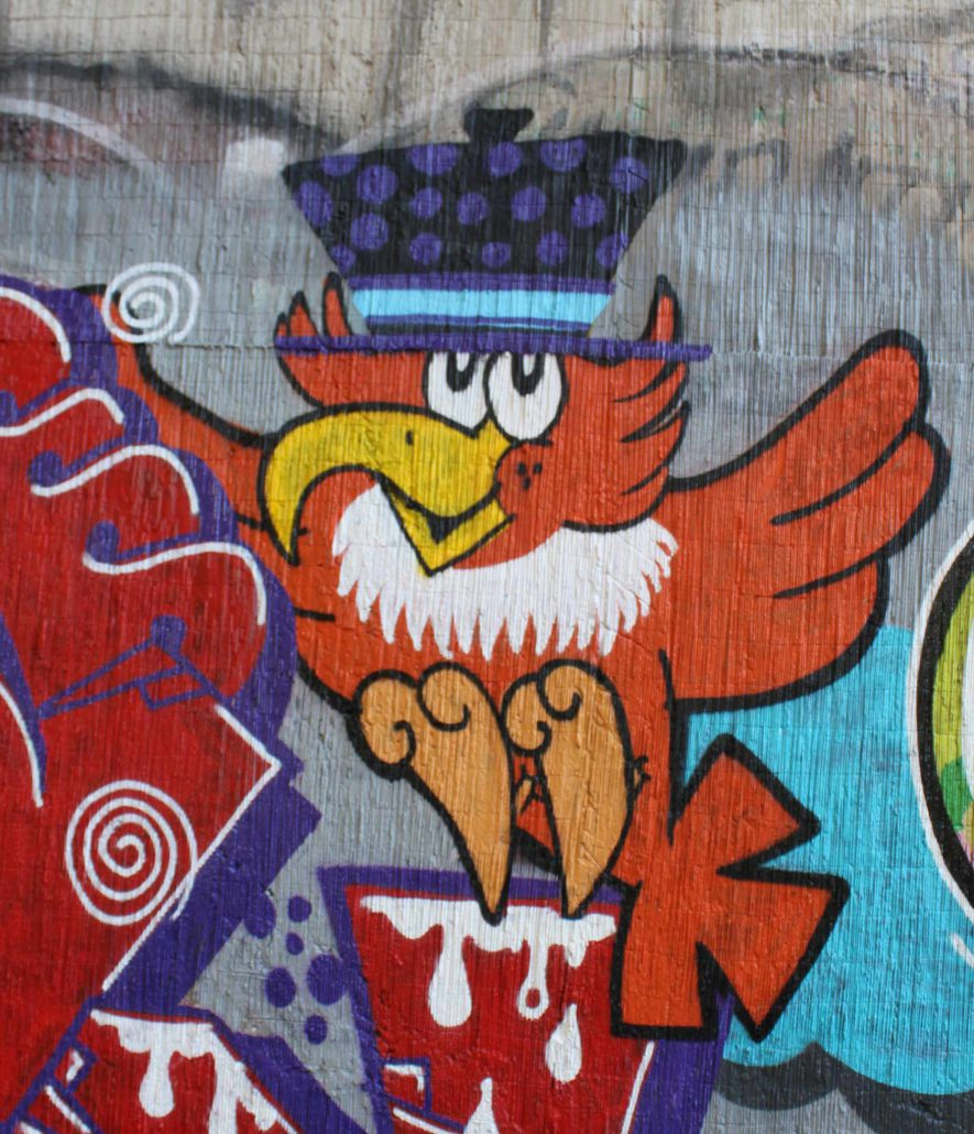 pappagallino street art o graffiti su muro Roma