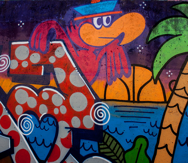 pappagallo rosa sfondo del murales o street art roma