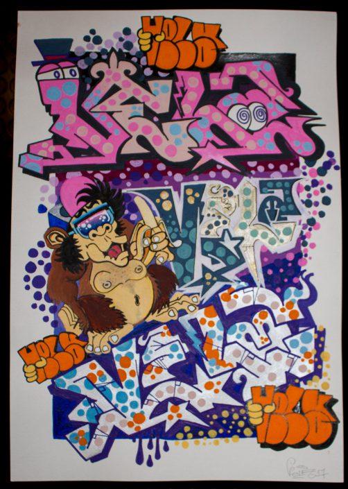 vela monkey graffito su cartoncino