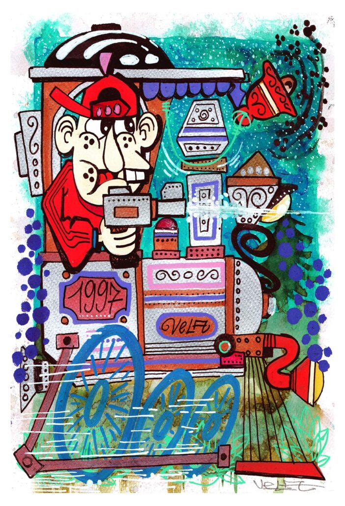 illustrazione stile graffiti - assalto al treno