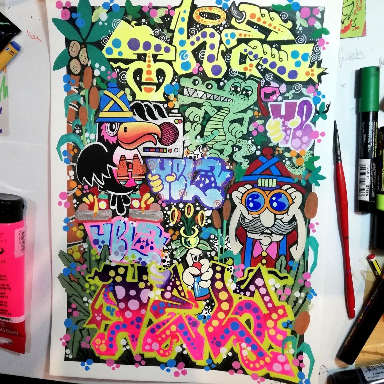 illustrazione grafica con graffiti e personaggi