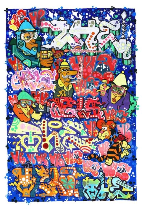 mrvela mega poster lettering character b-boy graffiti