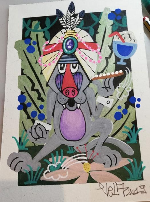 disegno di scimmia babbuino nella giungla - illustrazione opera contemporanea artista
