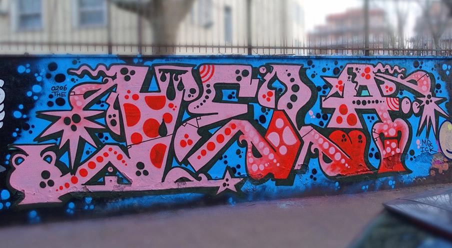 vela stile graffito murale